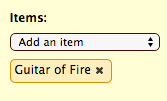 Dropdown for adding an item to a scene